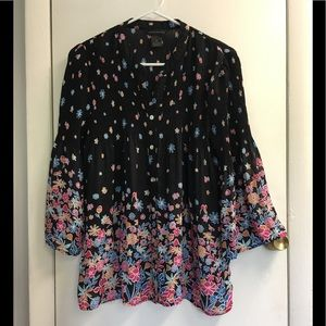 ❤️ investments black with floral gorgeous blouse